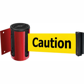 Tensabarrier Red Mini Wall Mount 7.5'L BLK/YLW Caution-Do Not Enter Retractable Belt Barrier