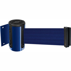 Tensabarrier Blue Mini Wall Mount 7.5'L Blue Retractable Belt Barrier