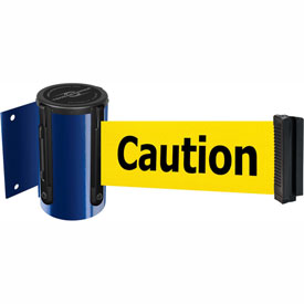 Tensabarrier Blue Mini Wall Mount 7.5'L BLK/YLW Caution-Do Not Enter Retractable Belt Barrier