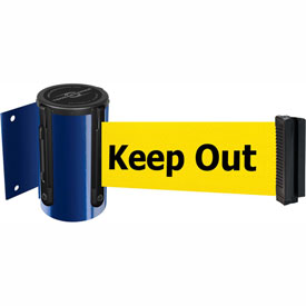 Tensabarrier Blue Mini Wall Mount 7.5'L BLK/YLW Danger-Keep Out Retractable Belt Barrier