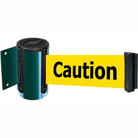 Tensabarrier Green Mini Wall Mount 7.5'L BLK/YLW Caution-Do Not Enter Retractable Belt Barrier