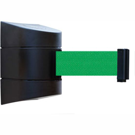 Tensabarrier Black Wall Mount 15'L Green Retractable Belt Barrier