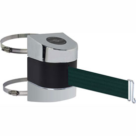 Tensabarrier Pol Chrome Clamp Wall Mount 15'L Green Retractable Belt Barrier