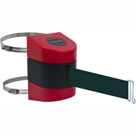 Tensabarrier Red Clamp Wall Mount 15'L Green Retractable Belt Barrier
