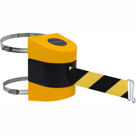 Tensabarrier Yellow Clamp Wall Mount 15'L Black/Yellow Chevron Retractable Belt Barrier