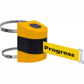 Tensabarrier Yellow Clamp Wall Mount 15'L BLK/YLW Cleaning in Progress Retractable Belt Barrier