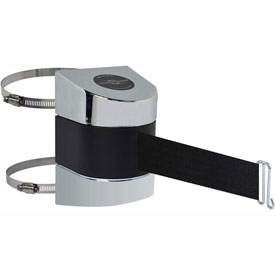 Tensabarrier Pol Chrome Clamp Wall Mount 30'L Black Retractable Belt Barrier