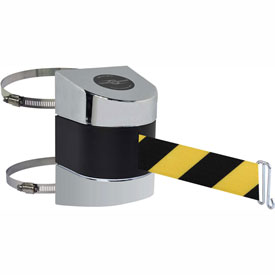 Tensabarrier Pol Chrome Clamp Wall Mount 30'L Black/Yellow Chevron Retractable Belt Barrier