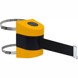 Tensabarrier Yellow Clamp Wall Mount 30'L Black Retractable Belt Barrier