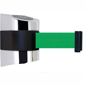 Tensabarrier Pol Chrome Wall Mount 30'L Green Retractable Belt Barrier