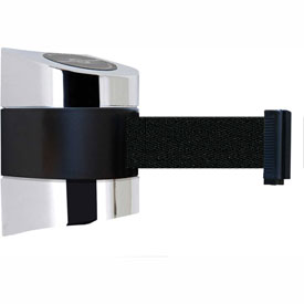 Tensabarrier Pol Chrome Wall Mount 30'L Black Retractable Belt Barrier