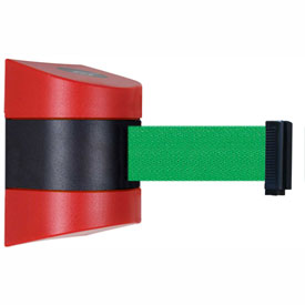 Tensabarrier Red Wall Mount 30'L Green Retractable Belt Barrier