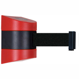 Tensabarrier Red Wall Mount 30'L Black Retractable Belt Barrier