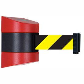 Tensabarrier Red Wall Mount 30'L Black/Yellow Chevron Retractable Belt Barrier