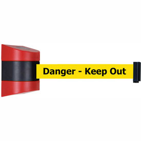 Tensabarrier Red Wall Mount 30'L Black/Yellow Danger-Keep Out Retractable Belt Barrier