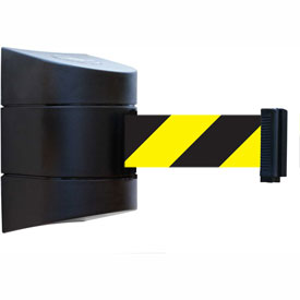 Tensabarrier Black Wall Mount 30'L Black/Yellow Chevron Retractable Belt Barrier