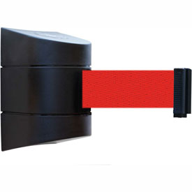 Tensabarrier Black Wall Mount 30'L Red Retractable Belt Barrier