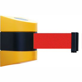 Tensabarrier Yellow Wall Mount 30'L Red Retractable Belt Barrier