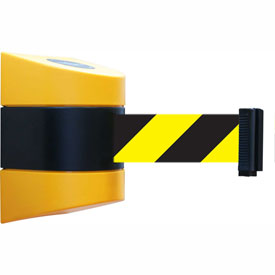 Tensabarrier Yellow Wall Mount 30'L Black/Yellow Chevron Retractable Belt Barrier