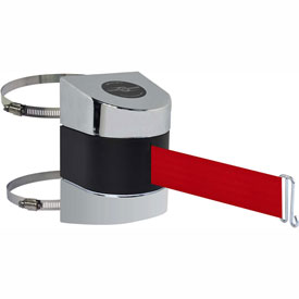 Tensabarrier Pol Chrome Clamp Wall Mount 24'L Red Retractable Belt Barrier