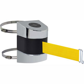 Tensabarrier Pol Chrome Clamp Wall Mount 24'L Yellow Retractable Belt Barrier