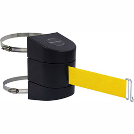 Tensabarrier Black Clamp Wall Mount 24'L Yellow Retractable Belt Barrier
