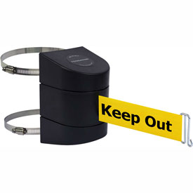 Tensabarrier Black Wall Mount 24'L BLK/YLW Danger-Keep Out Retractable Belt Barrier