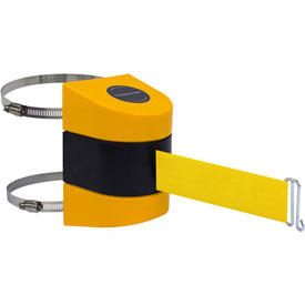 Tensabarrier Yellow Clamp Wall Mount 24'L Yellow Retractable Belt Barrier