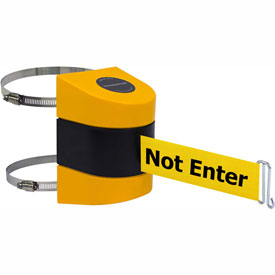 Tensabarrier Yellow Clamp Wall Mount 24'L BLK/YLW Caution-Do Not Enter Retractable Belt Barrier