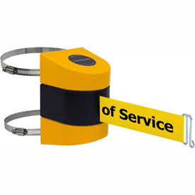 Tensabarrier Yellow Wall Mount 24'L BLK/YLW Out of Service Retractable Belt Barrier