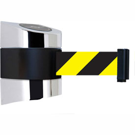 Tensabarrier Pol Chrome Wall Mount 24'L Black/Yellow Chevron Retractable Belt Barrier
