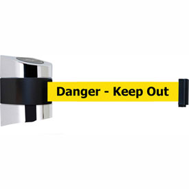 Tensabarrier Pol Chrome Wall Mount 24'L BLK/YLW Danger-Keep Out Retractable Belt Barrier