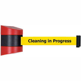 Tensabarrier Red Wall Mount 24'L BLK/YLW Cleaning in Progress Retractable Belt Barrier