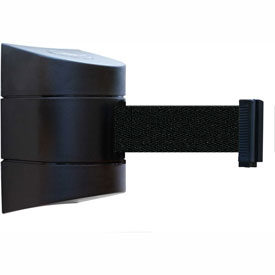 Tensabarrier Black Wall Mount 24'L Black Retractable Belt Barrier