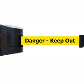 "Tensabarrier Black Wall Mount 24'L Black on Yellow ""Danger - Keep Out"" Retractable Belt Barrier"