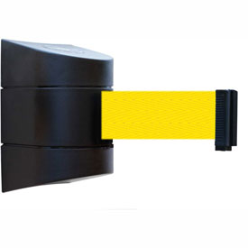 Tensabarrier Black Wall Mount 24'L Yellow Retractable Belt Barrier