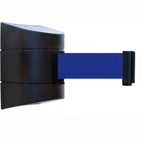 Tensabarrier Black Wall Mount 24'L Blue Retractable Belt Barrier