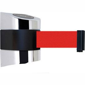 Tensabarrier Pol Chrome Wall Mount 15'L Red Retractable Belt Barrier