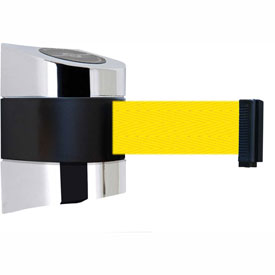 Tensabarrier Pol Chrome Wall Mount 15'L Yellow Retractable Belt Barrier