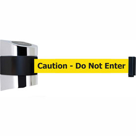 Tensabarrier Pol Chrome Wall Mount 15'L BLK/YLW Caution-Do Not Enter Retractable Belt Barrier