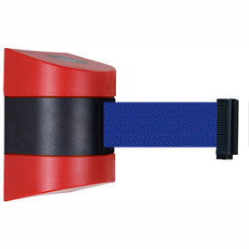 Tensabarrier Red Wall Mount 15'L Blue Retractable Belt Barrier