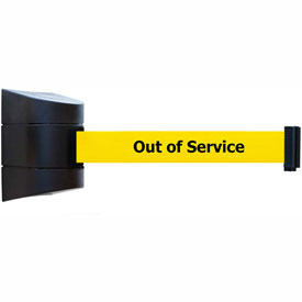 "Tensabarrier Black Wall Mount 15'L Black on Yellow ""Out of Service"" Retractable Belt Barrier"