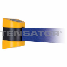 Tensabarrier Yellow Wall Mount 15'L Blue Retractable Belt Barrier