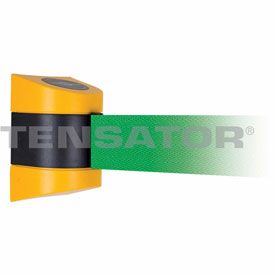 Tensabarrier Yellow Wall Mount 15'L Green Retractable Belt Barrier