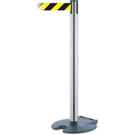 "Tensabarrier Rollabarrier 38""H Satin Chrome Post 13'L Black/Yellow Chevron Retractable Belt"