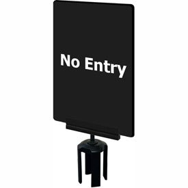"Tensabarrier 7""x11"" 1/4"" Thick Acrylic Sign, Black - ""No Entry"""
