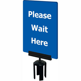 """Tensabarrier Blue 7""""x11"""" 1/4"""" Thick Acrylic Sign - Please Wait Here"""