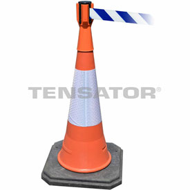 Tensabarrier Orange TensaCone Topper 7.5'L Blue/White Chevron Retractable Belt Barrier