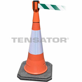 Tensabarrier Orange TensaCone Topper 7.5'L Green/White Chevron Retractable Belt Barrier