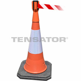 Tensabarrier Orange TensaCone Topper 7.5'L Red/White Chevron Retractable Belt Barrier